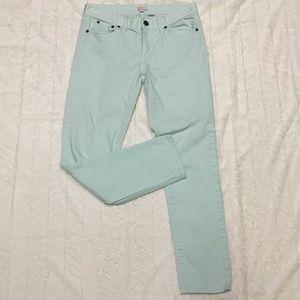 J. Crew stretch mint green toothpick jeans size 28